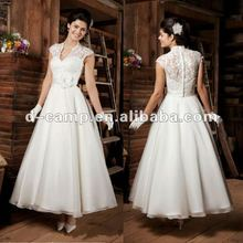 WD-513 Beautiful lace top ankle length wedding dresses cap sleeves