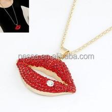 fashion red rhinestone lip necklace NSNK-21429