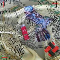 polyester kain baju kurung chiffon velvet fabric with bird partern printing
