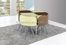 Round Tempered Glass Dining Table Set Design