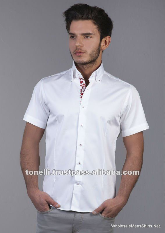 Short sleeve satin white dress shirt for men buy satin for Buy white dress shirt