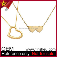 China Manufacturer Customized 24K Gold Heart Necklace