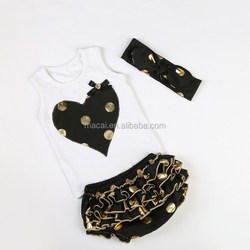 Black heart golden polka dot top with bloomer set baby clothes 2015