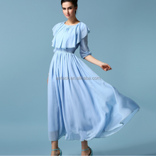 HJL-1061 Veri Gude 2015 shawl collar three quarter sleeve blue women's elegant maxi chiffon dress