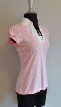 Paris blues juniors top size m, pink with white polka dots short Sleeve office blouse for uniform short sleeve