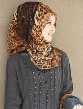 muslim women hot leopard pattern hijab