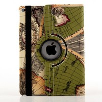 Retro Map Leather Skin Magentic Smart Cover Case For iPad Air 2