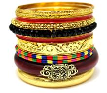 East Fancy Indian Ethnic Jewelry crystal Stack Gold Boho Bangle Set