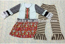 cheap wholesale brand name winter clothes hot sale baby girls childrens clothing sets kids ruffled clothing set