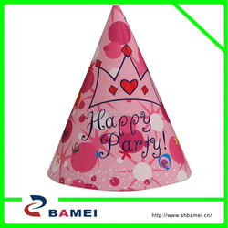 Popular Design Cone Paper Party Hat/Cheap party paper hat/Cheap beautiful crown party paper hat