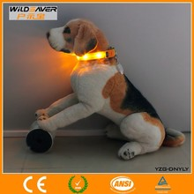 Pets Safety bright yellow Led Flashing Dog Collars/ CE and ROHS are approved