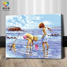 beach kids oil painting by numbers kits 40*50cm kids painting