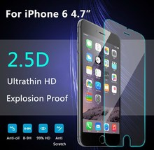 2015 High quality 2.5D round edge Tempered glass screen protector for iphone 6