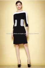 Las mujeres negro blanco de manga larga vestido diseños de ultima