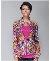 full front zip design women neoprene bomber jacket
