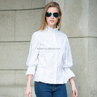 HJC-C8358 Veri Gude 2015 Women's fashion mandarin collar flare sleeve cotton shirt