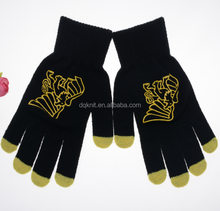 Acrylic Cheap Winter Knitted Touch Screen Glove With Printed