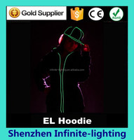Custom Design 180 gsm Cotton EL Wire hoodies, Plain el Hoodies, Flashing EL Wire Hoody Online Shopping