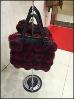new style wholesale price rex rabbit flowers lady sex fashion handbag