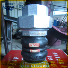 Flexible thread union type rubber joint