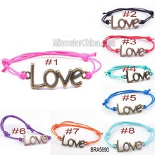 BRA5690 Slider Strand Surfer Beach Swimming Waxed Sliding Knot Rope Cord Bracelet With Love Charm