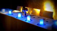 Wedding/party/event decoration multi-color led light base 15cm led crystal centerpiece light