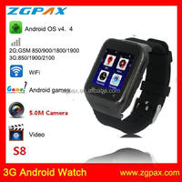Anddroid 4.4 system smart watch phone with bluetooth 4.0 S8 ZGPAX