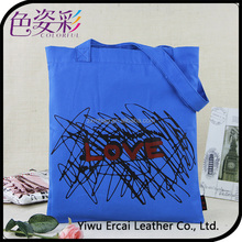 2015 Hot Sale OEM Fashion Customized Printed Canvas Flet Cotton Blank Wholesale Tote Bag