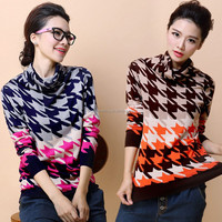 New fashion stripes ladies winter turtleneck knitted sweater, fashion grids ladies pullover sweater