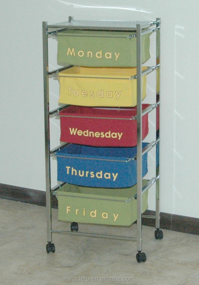 3 Tier Wood Drawer Storage Trolley Organizer
