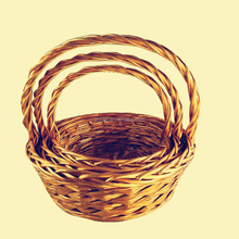 Golden color decorative Christmas willow basket for gift