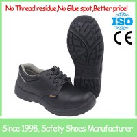 SF718 Black anti slip china buffalo print leather cheap safety shoe