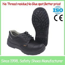 SF718 Black anti slip china buffalo print leather cheap safety shoe