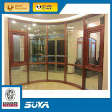 fashion double tempered glass aluminum composite wood window