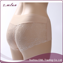 Women ice silk mid-waist lace transparent breathable panties