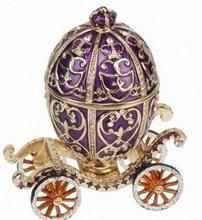 Fashion Wholesale Metal Crystal Rhinestone Russian Faberge Egg Carriage Trinket Box Jewelry Box ZBH10754