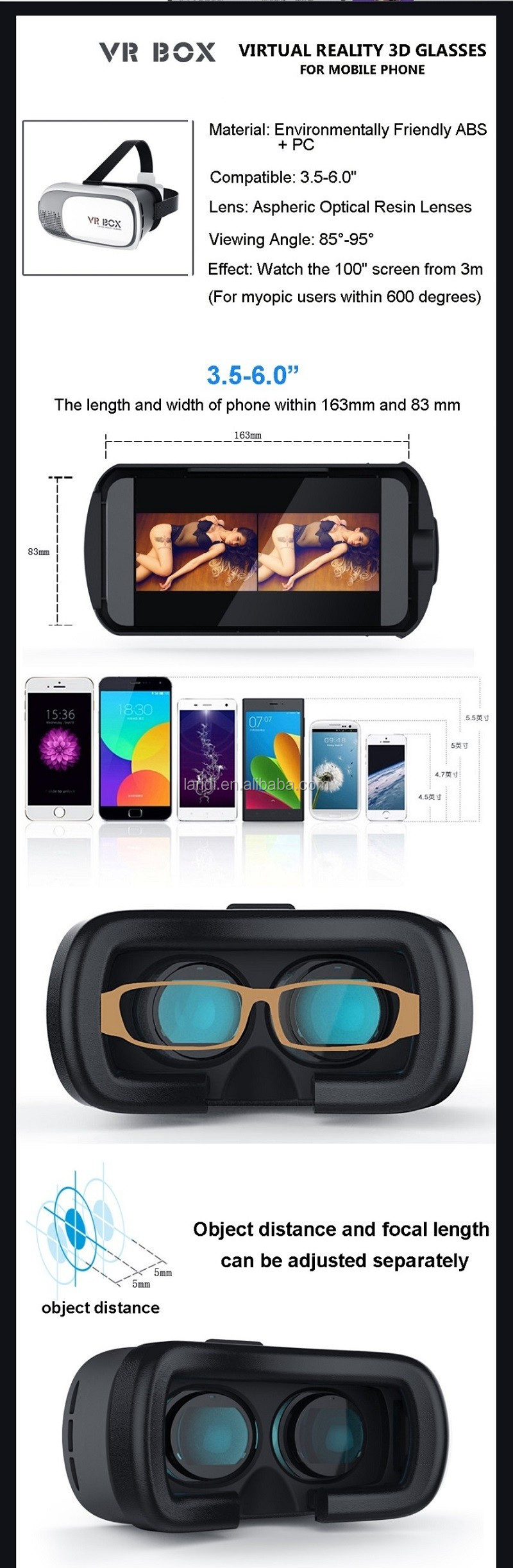 Hot selling google cardboard vr box 2.0 headset to watch 3D sex movie with smart phone