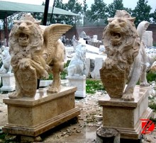 garden travertine lion with wings statue