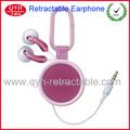 china oem de fábrica directamente la venta estéreo retráctil de auriculares para el teléfono móvil sony ericsson i5 y samsung