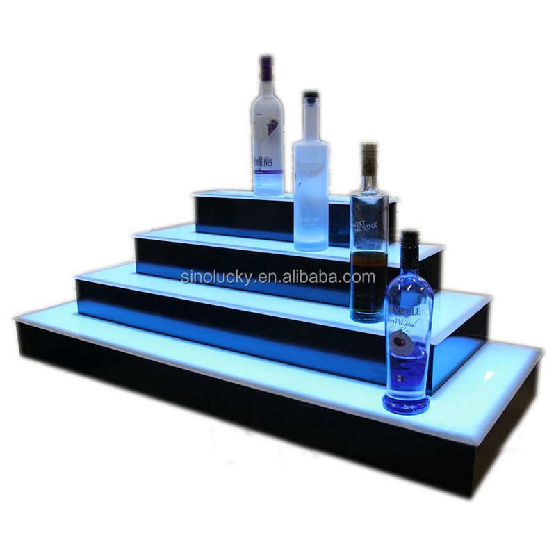 2 Step Led Lighted Bar Bottle Display 3 Tier Acrylic
