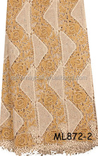 Embroidery design 100% polyester african swiss guipure lace with stones fabric for wedding dress in beige ML872-2