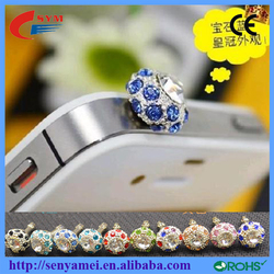 HOT SELLING Bling crystal diamon anti dust plug for smart cell phone