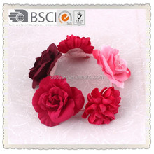 Charming lace rose flower elastic hairband high quality topknot ,hair holder DSXS4041Details