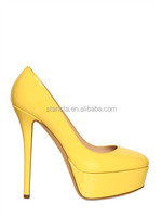 Celebrity Patent Leather Women's Yellow High Heel Platform Pumps Girls Super High Heels With Closed Toe Style