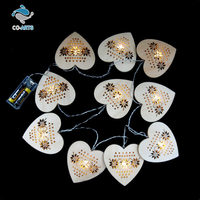 Romantic design wooden heart shaped decoration lighting string