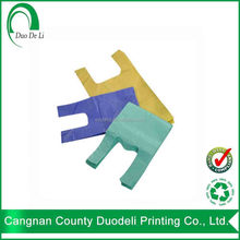 Colorfull vest t shirt recycle plastic bags for shoe manufacturers