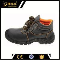 Black Middle Cut Embossed Leather PU Outsole Cool Man Safety Shoes