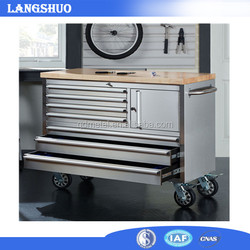 72 Inch Stainless Steel Tool Storage Chest with Wooden Top