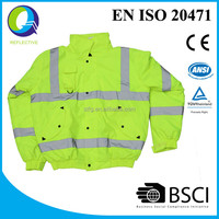 winter hi vis safety jacket with reflector
