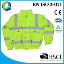 winter hi vis safety jacket with reflector